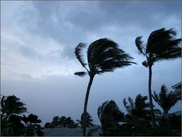 Hurricane winds over a modular home