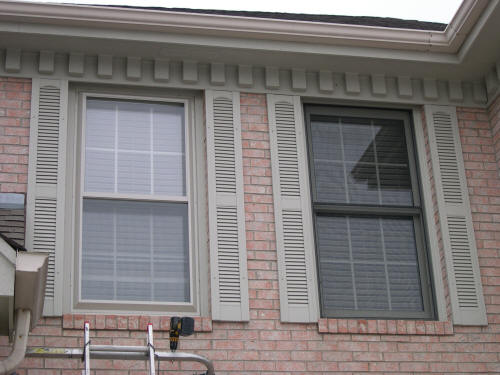 Decorative shutters on a modular home