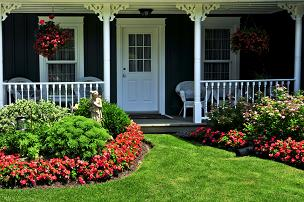 flowerbed and modular home