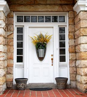 unique front door on modular home