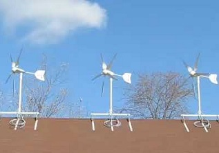 wind turbines on a house